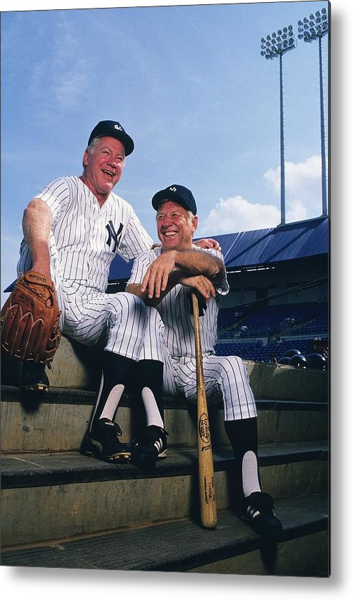 1980-1989 Metal Print featuring the photograph Mickey Mantle and Whitey Ford by Ronald C. Modra/sports Imagery