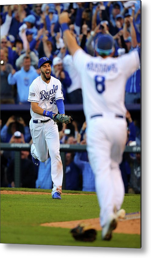 American League Baseball Metal Print featuring the photograph Mike Moustakas and Eric Hosmer by Dilip Vishwanat