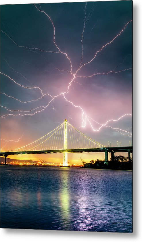 Metal Print featuring the photograph Mother Nature Appears,Lightning Storm, Oakland by Vincent James