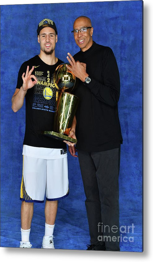 Playoffs Metal Print featuring the photograph Mychal Thompson and Klay Thompson by Jesse D. Garrabrant