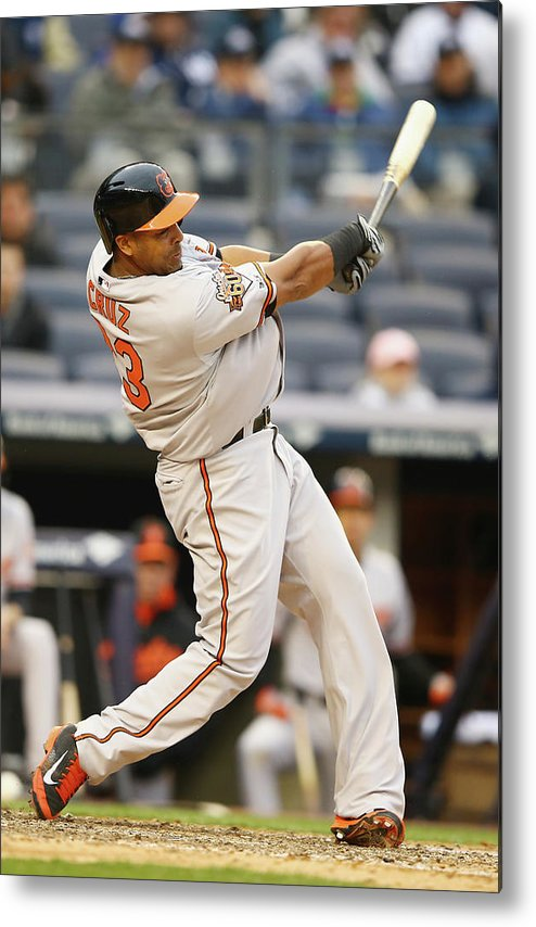 American League Baseball Metal Print featuring the photograph Nelson Cruz by Al Bello