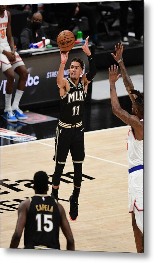 Atlanta Metal Print featuring the photograph New York Knicks v Atlanta Hawks - Game Four by Adam Hagy