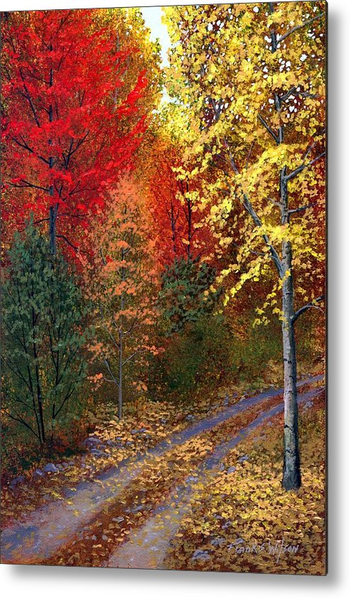Landscape Metal Print featuring the painting October Road by Frank Wilson