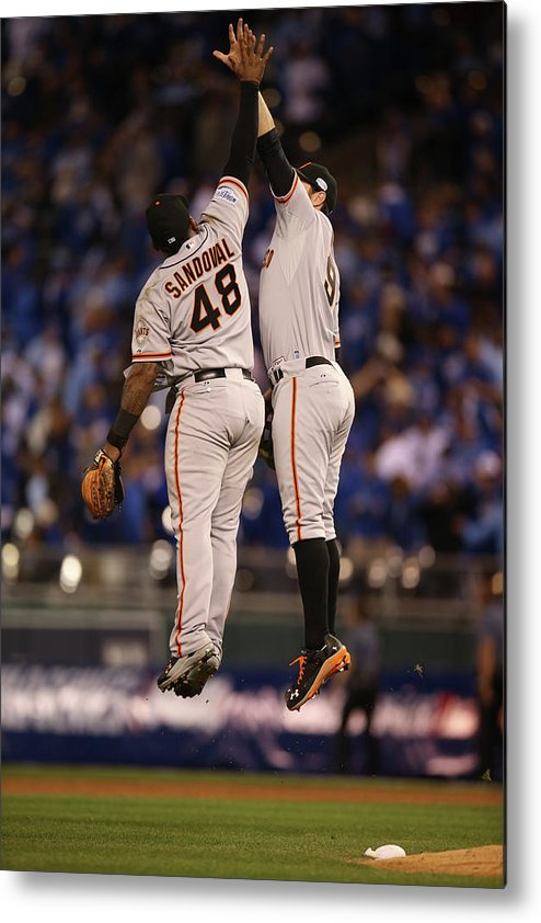 Playoffs Metal Print featuring the photograph Pablo Sandoval and Brandon Belt by Brad Mangin