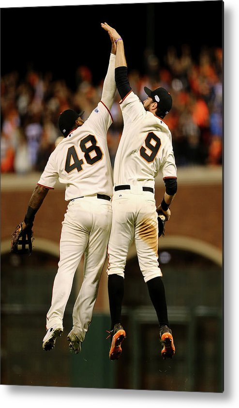 San Francisco Metal Print featuring the photograph Pablo Sandoval and Brandon Belt by Elsa