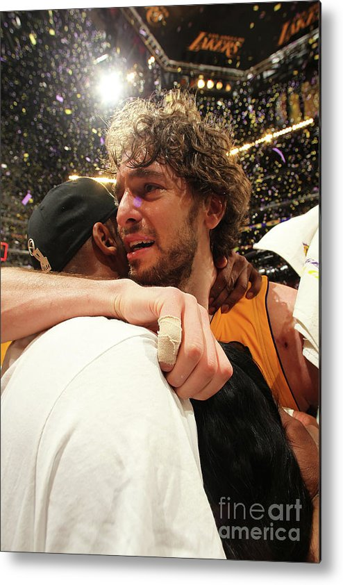Playoffs Metal Print featuring the photograph Pau Gasol and Kobe Bryant by Nathaniel S. Butler