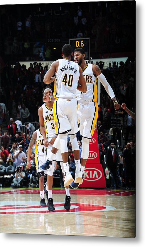 Atlanta Metal Print featuring the photograph Paul George and Glenn Robinson by Scott Cunningham