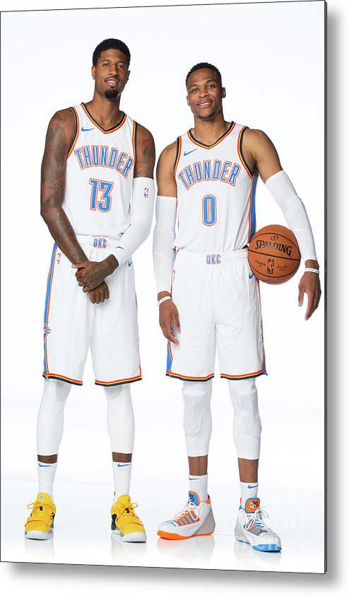 Media Day Metal Print featuring the photograph Paul George and Russell Westbrook by Nba Photos