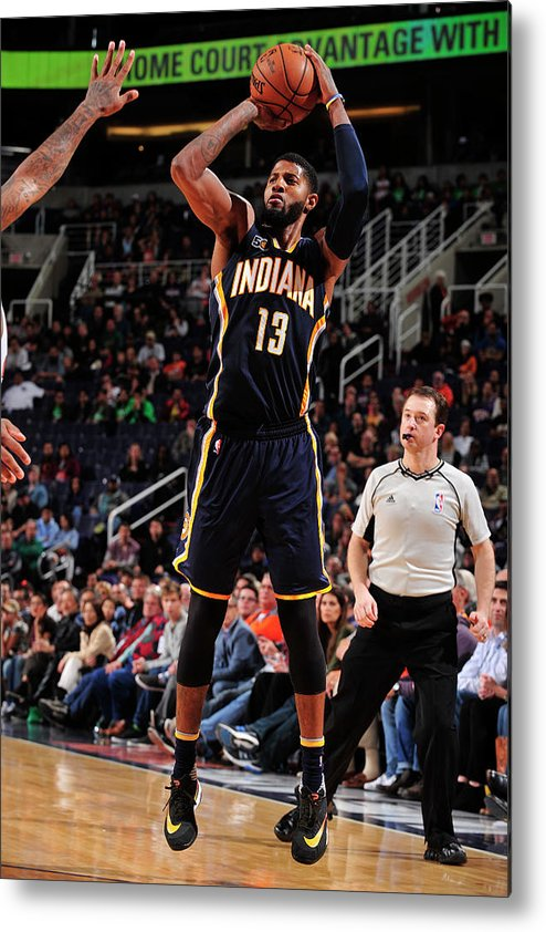 Nba Pro Basketball Metal Print featuring the photograph Paul George by Barry Gossage
