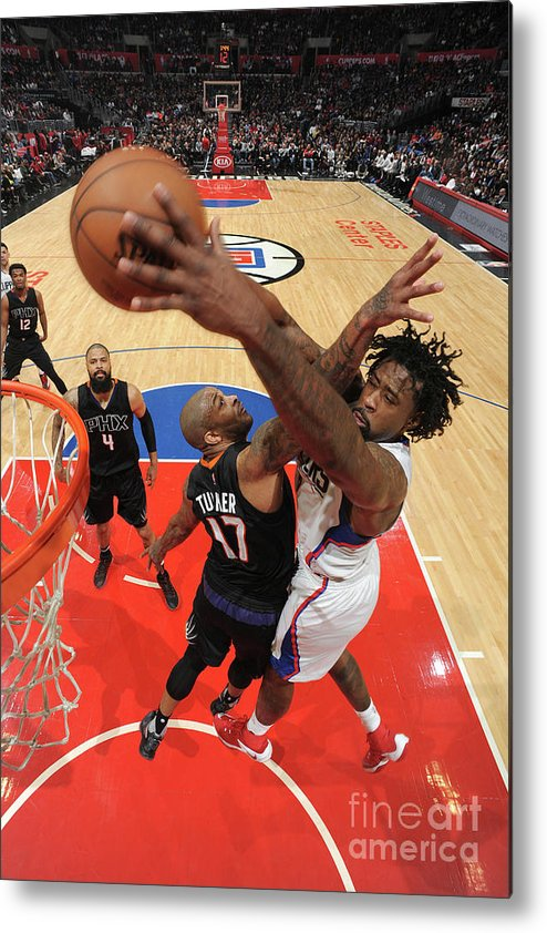 Nba Pro Basketball Metal Print featuring the photograph P.j. Tucker and Deandre Jordan by Andrew D. Bernstein