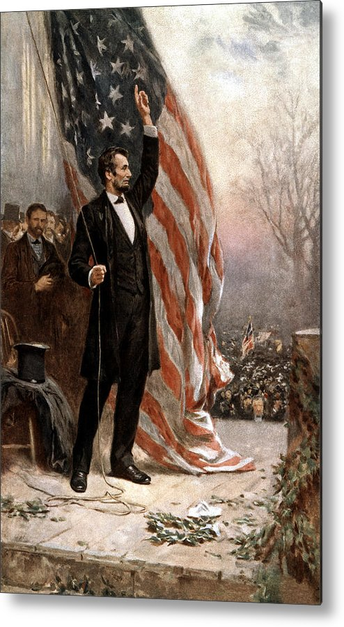 Abraham Lincoln Metal Print featuring the painting President Abraham Lincoln Giving A Speech by War Is Hell Store