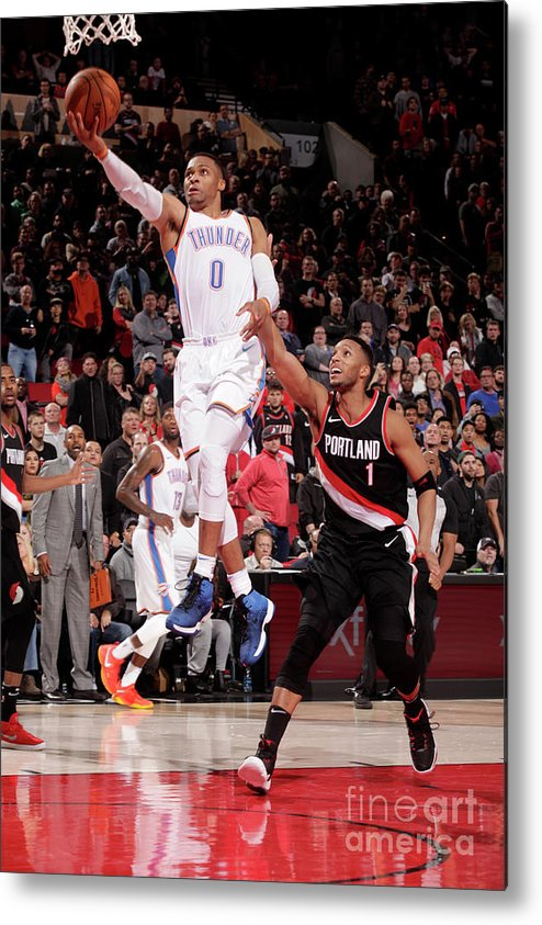 Nba Pro Basketball Metal Print featuring the photograph Russell Westbrook by Cameron Browne