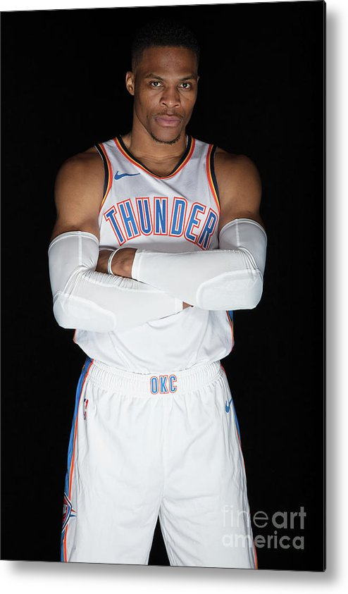 Media Day Metal Print featuring the photograph Russell Westbrook by Michael J. Lebrecht Ii