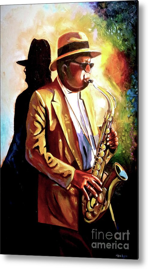 Sax Metal Print featuring the painting Sax Player by Jose Manuel Abraham