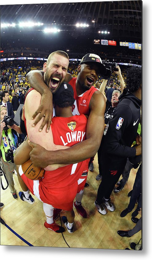 Playoffs Metal Print featuring the photograph Serge Ibaka, Marc Gasol, and Kyle Lowry by Andrew D. Bernstein