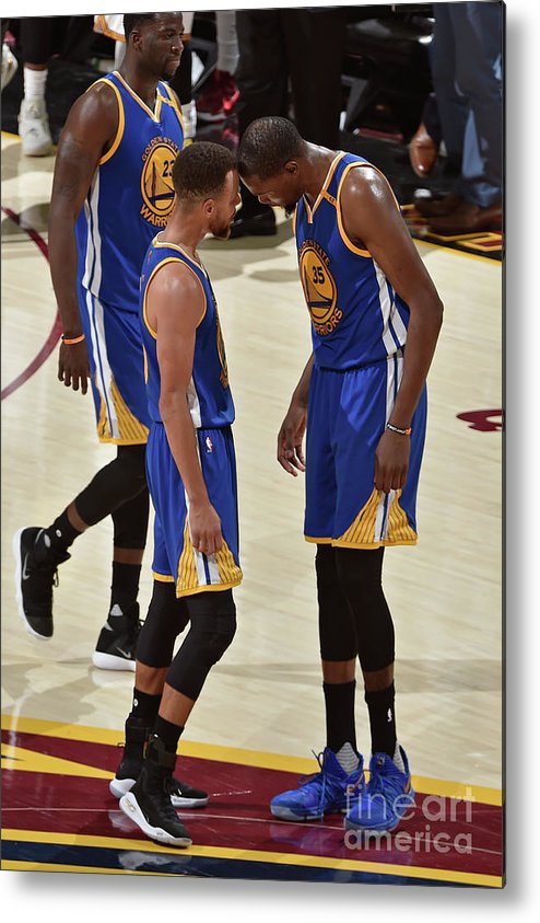 Playoffs Metal Print featuring the photograph Stephen Curry and Kevin Durant by David Liam Kyle