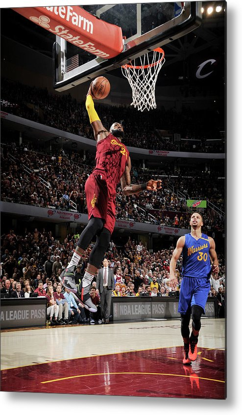 Nba Pro Basketball Metal Print featuring the photograph Stephen Curry and Lebron James by David Liam Kyle
