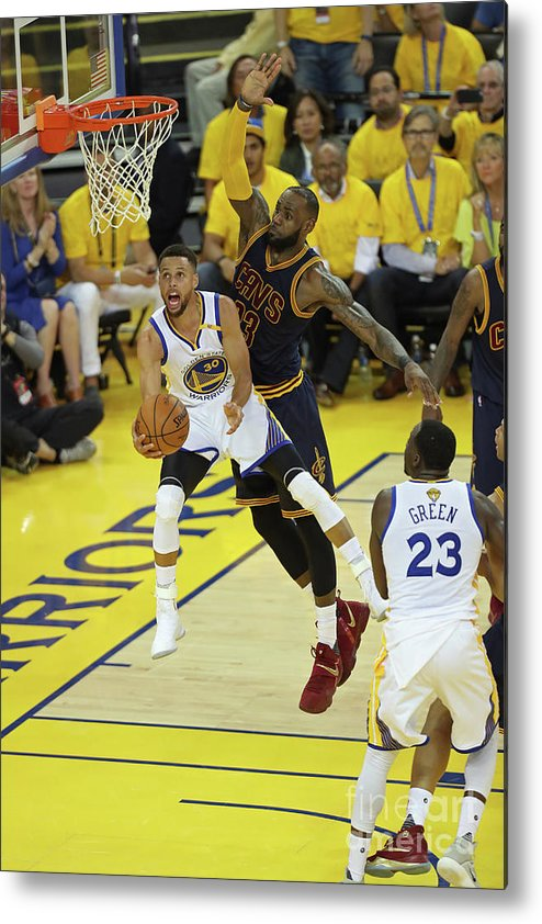 Playoffs Metal Print featuring the photograph Stephen Curry and Lebron James by Joe Murphy