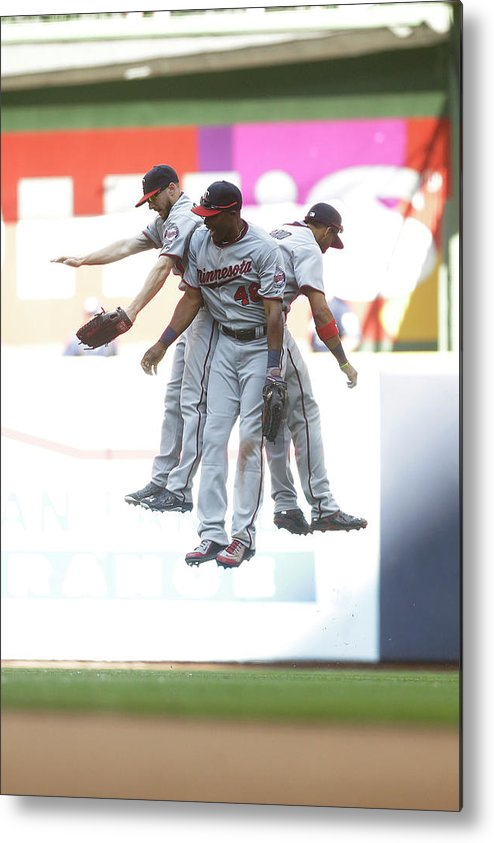 People Metal Print featuring the photograph Torii Hunter and Eduardo Escobar by Mike Mcginnis