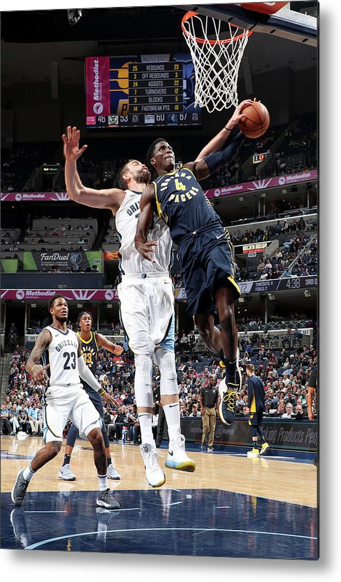 Nba Pro Basketball Metal Print featuring the photograph Victor Oladipo and Marc Gasol by Joe Murphy