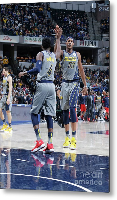 Nba Pro Basketball Metal Print featuring the photograph Victor Oladipo and Myles Turner by Ron Hoskins