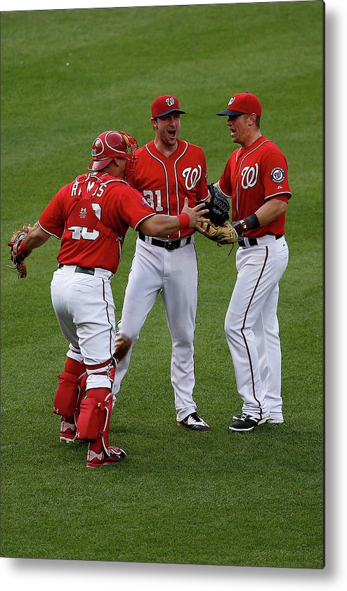 People Metal Print featuring the photograph Wilson Ramos, Max Scherzer, and Tyler Moore by Rob Carr