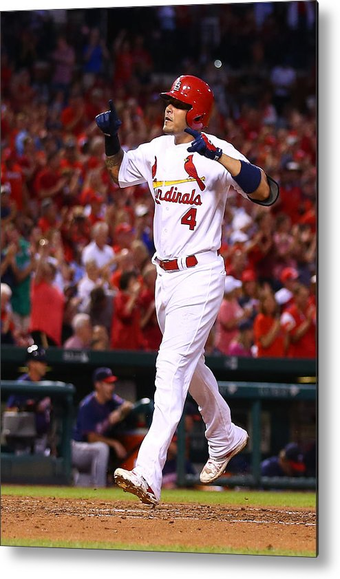 St. Louis Cardinals Metal Print featuring the photograph Yadier Molina by Dilip Vishwanat