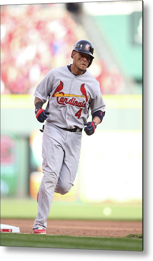 Great American Ball Park Metal Print featuring the photograph Yadier Molina by John Grieshop