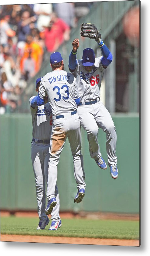 San Francisco Metal Print featuring the photograph Yasiel Puig, Scott Van Slyke, and Matt Kemp by Jason O. Watson