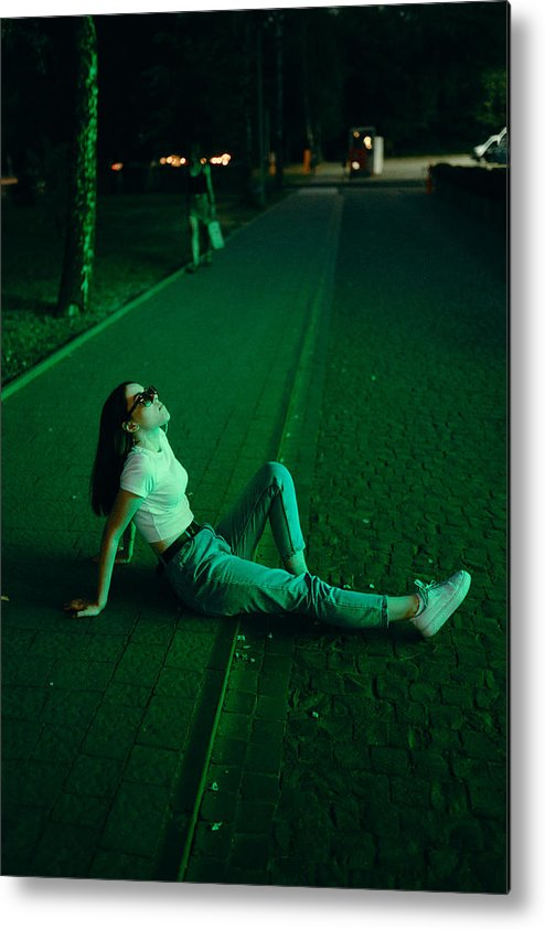 Cool Attitude Metal Print featuring the photograph Young woman in sunglasses in neon lighting by Masha Raymers