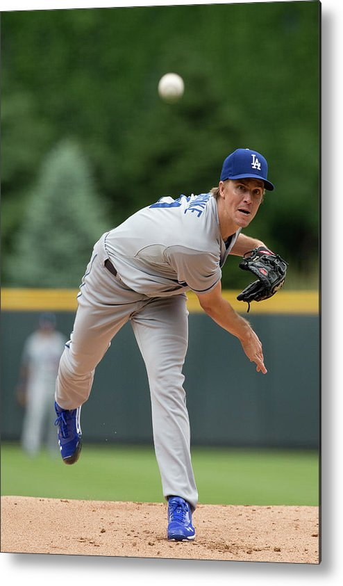 Los Angeles Dodgers Metal Print featuring the photograph Zack Greinke by Justin Edmonds
