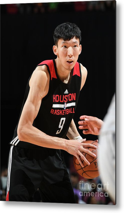 Nba Pro Basketball Metal Print featuring the photograph Zhou Qi by Garrett Ellwood