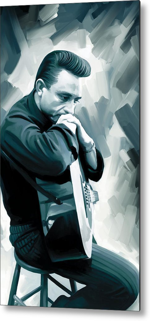 Johnny Cash Paintings Metal Print featuring the painting Johnny Cash Artwork 3 by Sheraz A