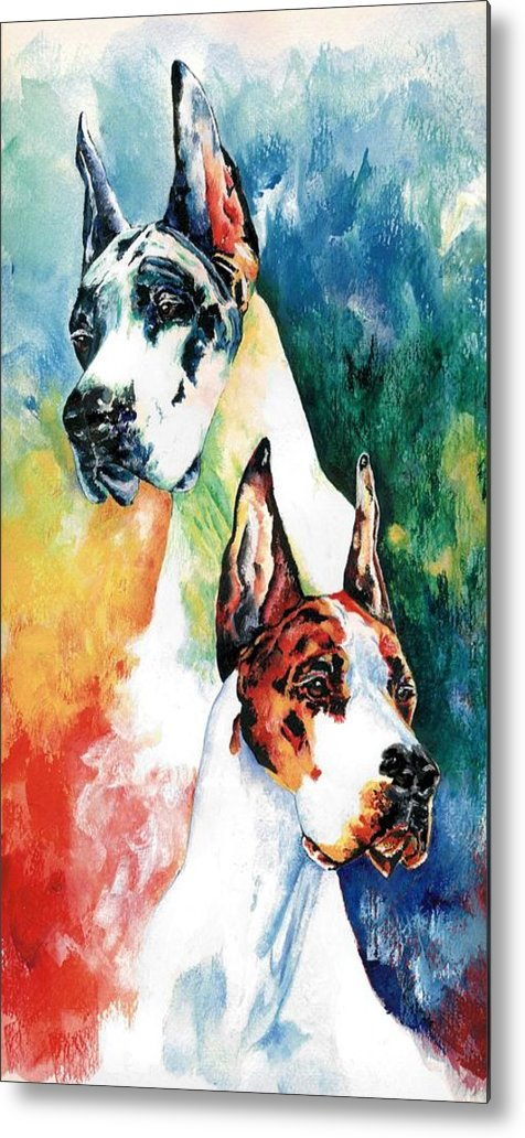 Great Dane Metal Print featuring the painting Fire And Ice by Kathleen Sepulveda