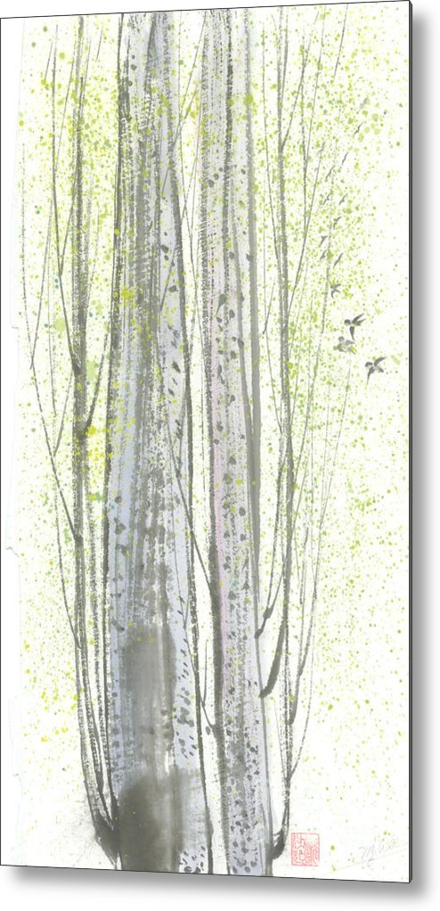 New Leaves Sprung Out From A Polar Tree With Birds Singing Among The Branches Metal Print featuring the painting New Leaves by Mui-Joo Wee