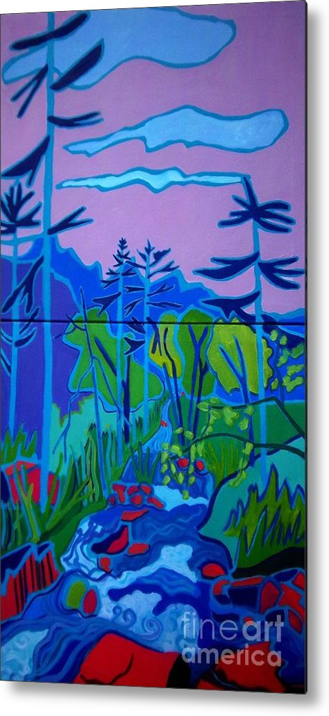 Landscape Metal Print featuring the painting Wildcat River Jackson NH by Debra Bretton Robinson