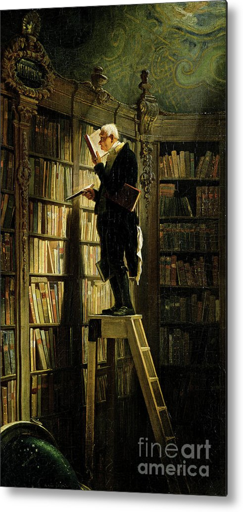 Librarian Metal Print featuring the drawing The Bookworm by Heritage Images