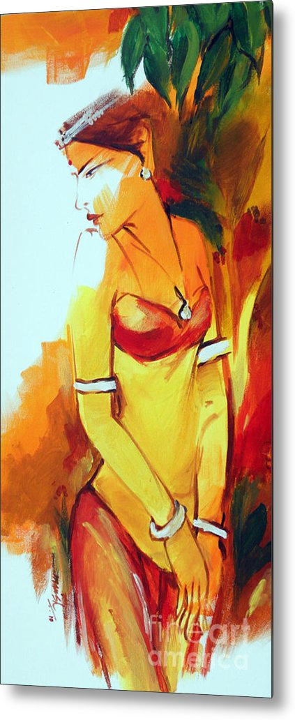 Radha Metal Print featuring the painting Radha by Manish Verma