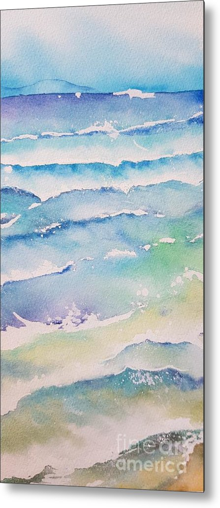 Watercolor Metal Print featuring the painting Waves by Paola Baroni