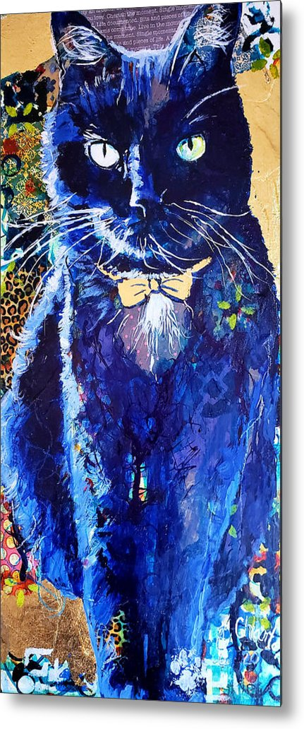 Cat Metal Print featuring the painting His Majesty by Goddess Rockstar