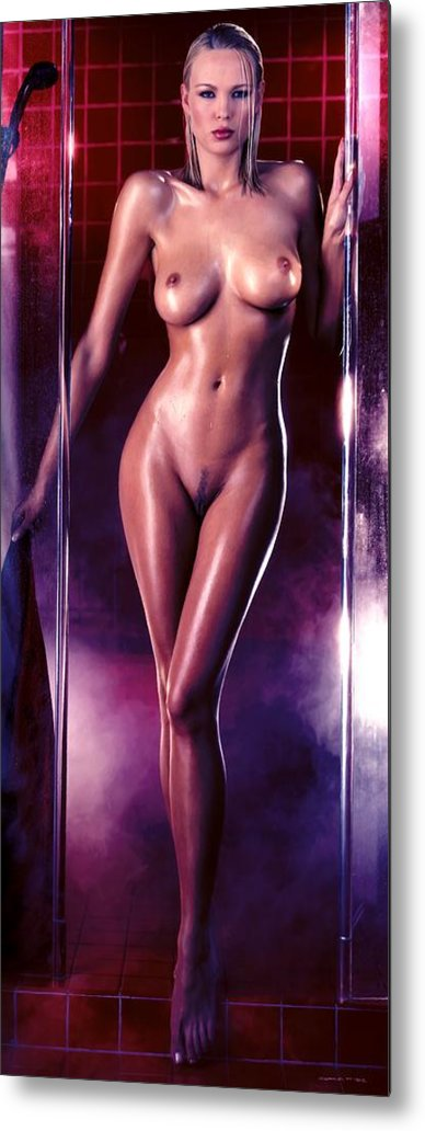 Digital Painting Metal Print featuring the digital art Girl in the shower 1 by Gabriel T Toro