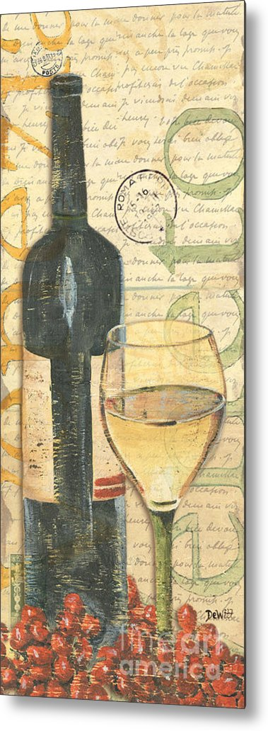 Wine Metal Print featuring the painting Italian Wine and Grapes 1 by Debbie DeWitt