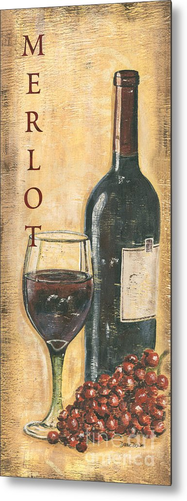 Wine Metal Print featuring the painting Merlot Wine and Grapes by Debbie DeWitt