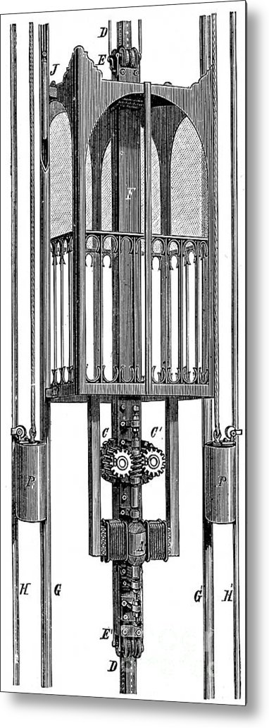 Engraving Metal Print featuring the drawing Elevator Lift By Siemens And Halske by Print Collector