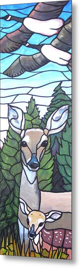 Deer Metal Print featuring the painting Deer Scene by Jim Harris