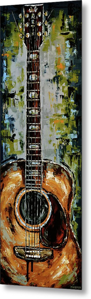 Guitar Metal Print featuring the painting Martin by Magda Magier