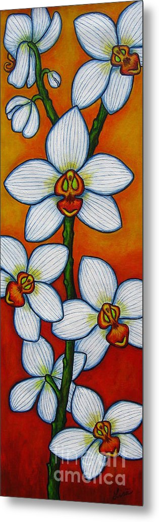 Orchids Metal Print featuring the painting Orchid Oasis by Lisa Lorenz