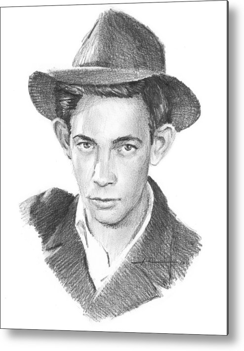 <a Href=http://miketheuer.com Target =_blank>www.miketheuer.com</a> Metal Print featuring the drawing 1930s Uncle Pencil Portrait by Mike Theuer