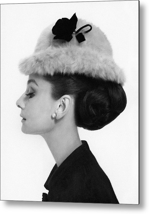 Accessories Metal Print featuring the photograph Audrey Hepburn Wearing A Givenchy Hat by Cecil Beaton