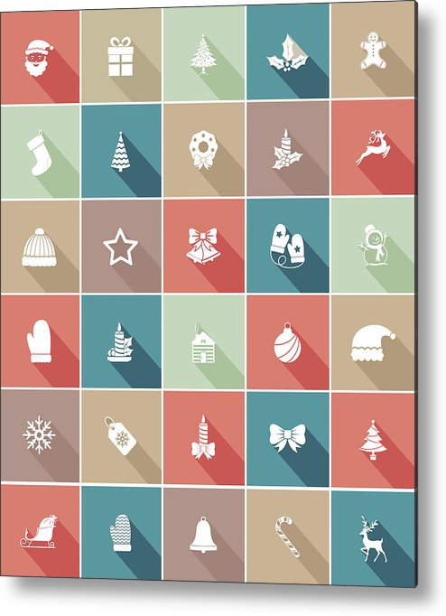 Long Metal Print featuring the drawing Flat Color UI Long Shadow Website Christmas Icon by Diane Labombarbe